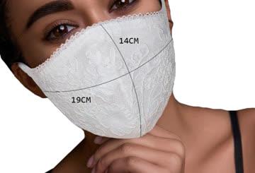 NEUE Stoff Maske mit Spitze Beige