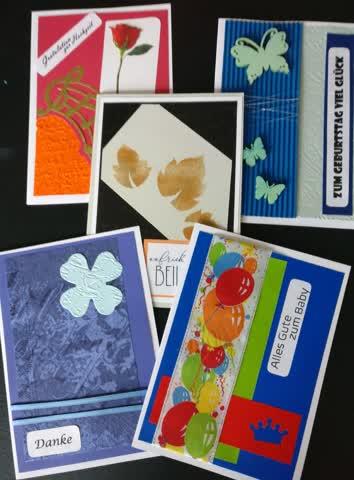 5 Karten - 5 Themen (Beileid, Danke, Baby, Geburtstag, Hochz