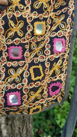 Vintage Retro Tasche mit Spiegeln Handtasche Hippie