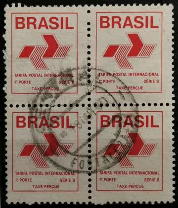 1989 Freimarke ohne Wertangabe; Taxe Percue Viererblock MiNr