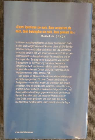 Jean Ziegler, Der schmale Grat der Hoffnung