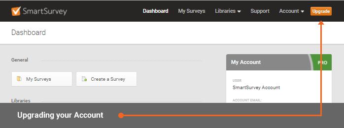location of SmartSurvey upgrade button