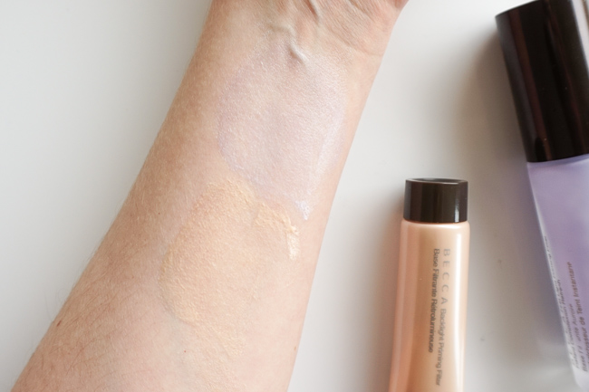 Becca Backlight Priming Filter swatches recenzia