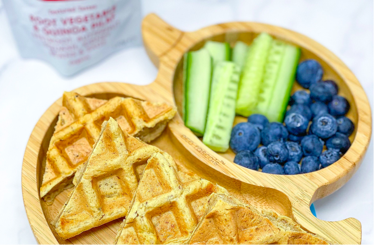 Babease Savoury Waffles on a weaning plate with finger foods