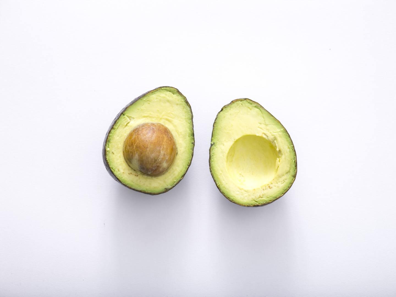 An avocado cut in half