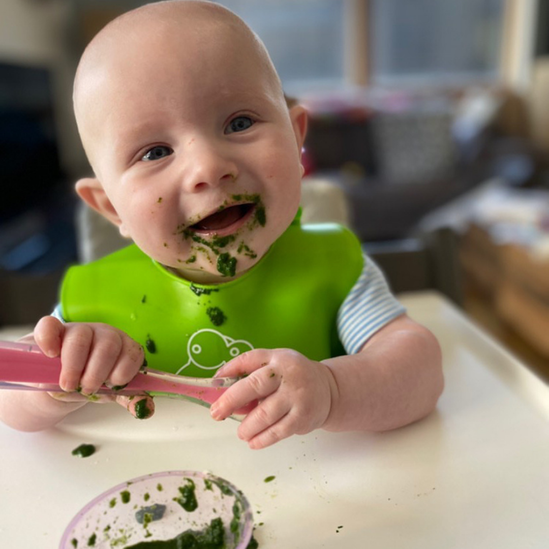 A baby self-feeding during baby-led weaning