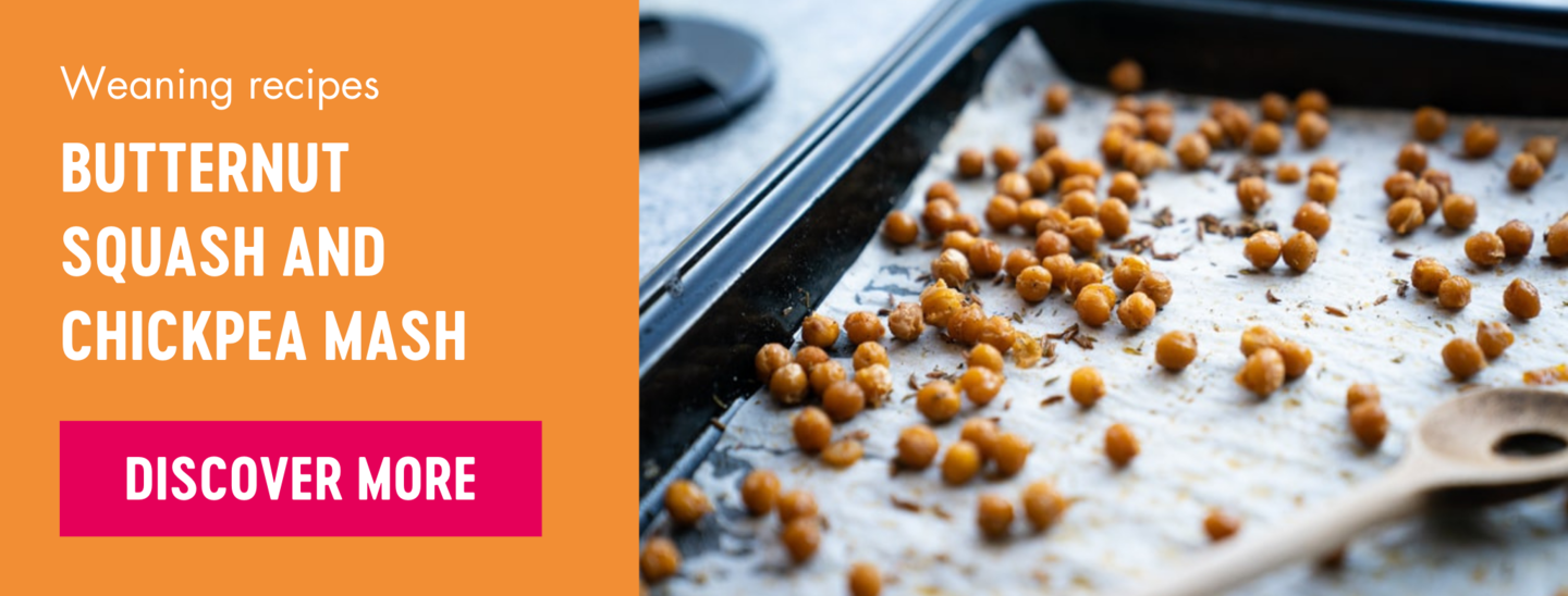Butternut squash and chickpea mash weaning recipe Babease banner