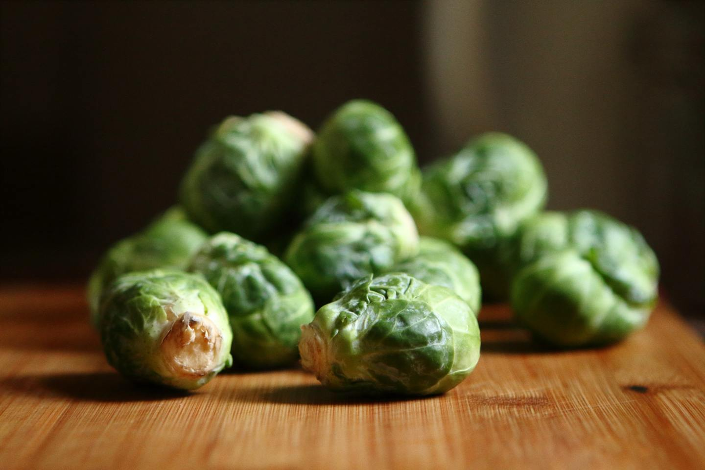 A pile of Brussel sprouts on a table