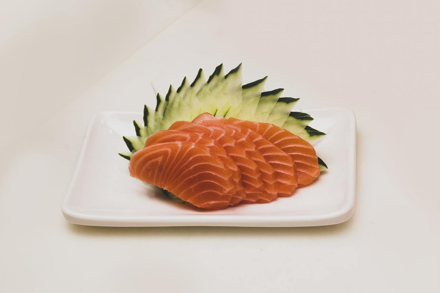 Slices of salmon on a plate