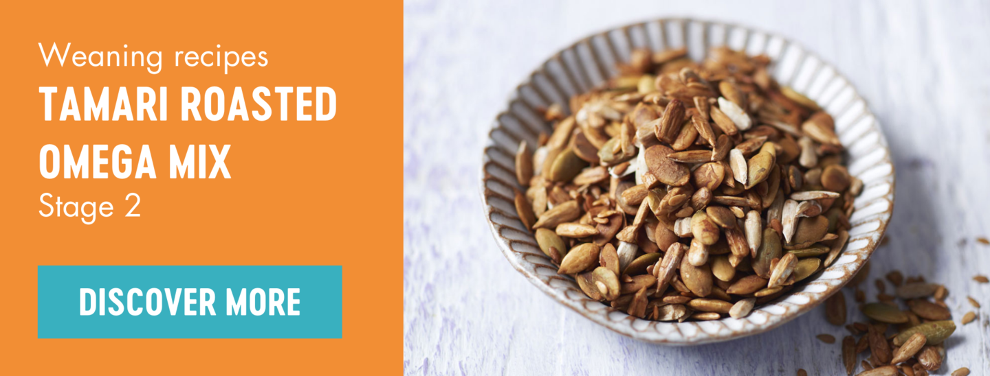 Tamari roasted omega mix weaning recipe banner