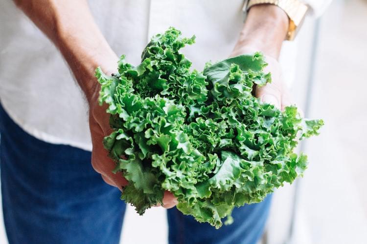 Someone holding fresh kale