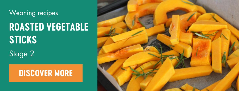 Roasted vegetable sticks weaning recipe Babease banner