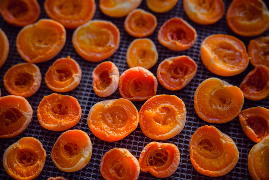 Dried apricots on a rack