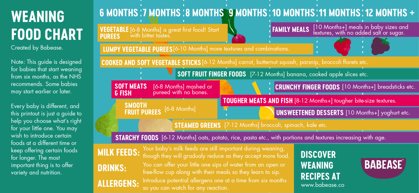 Weaning baby food chart by Babease