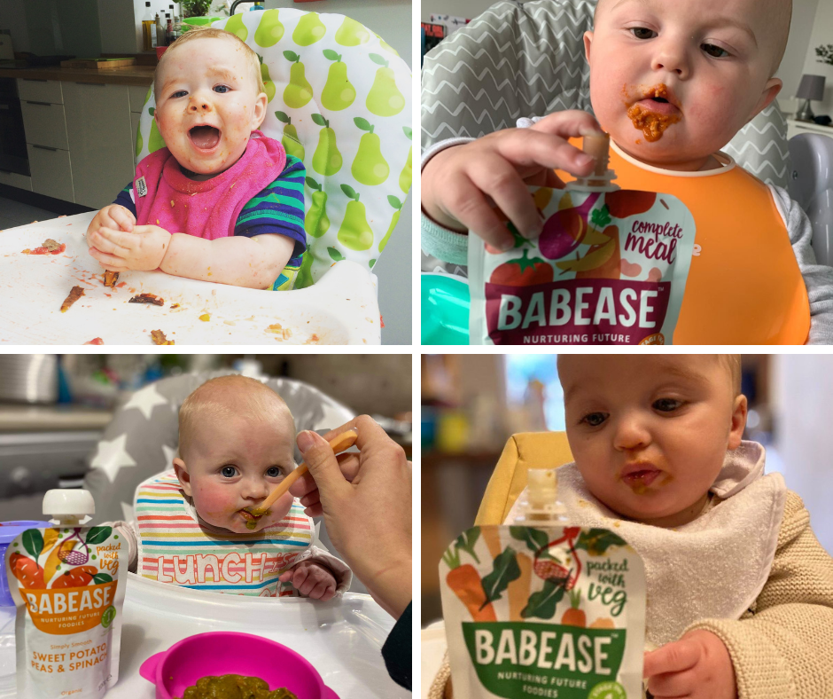 Four babies with baby food pouches