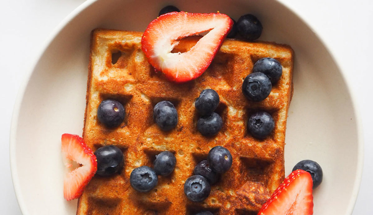 Waffle covered in fruit