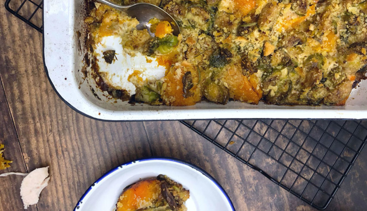 Christmas Sprout and Butternut Squash Gratin on a table