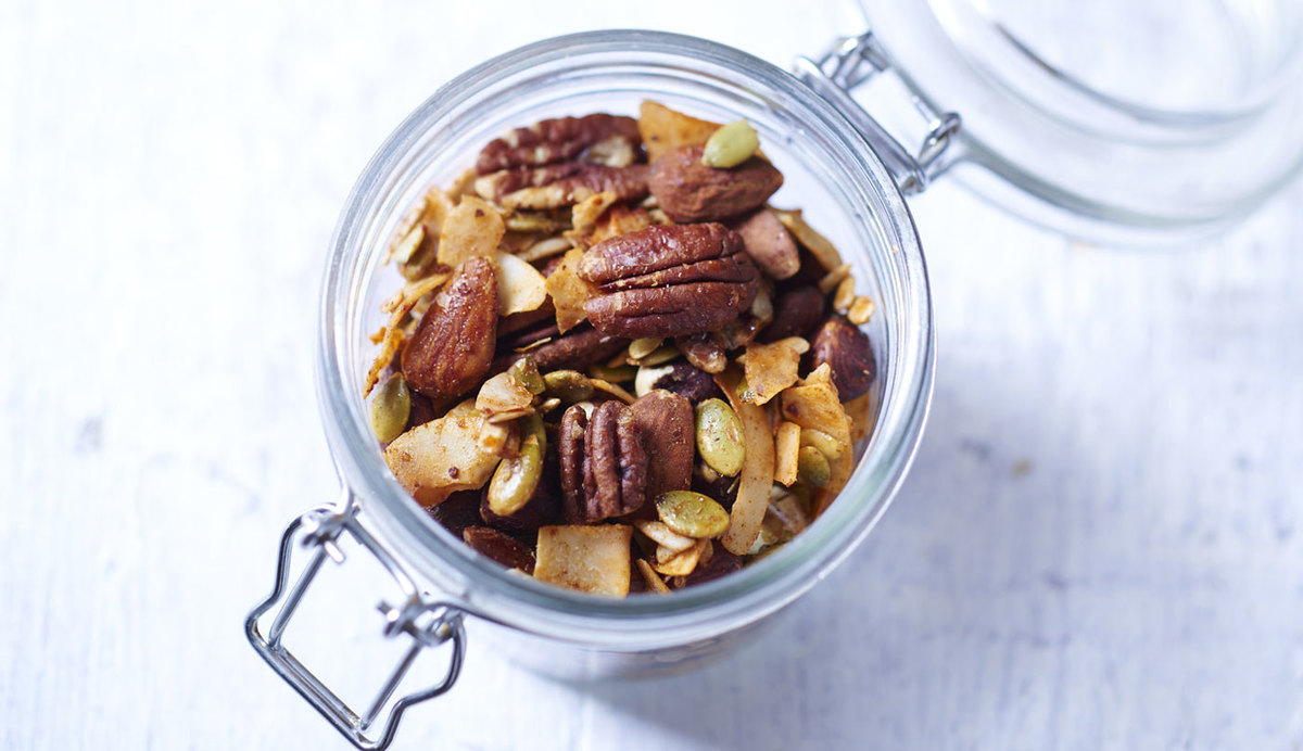 Spiced nuts and seeds in a jar