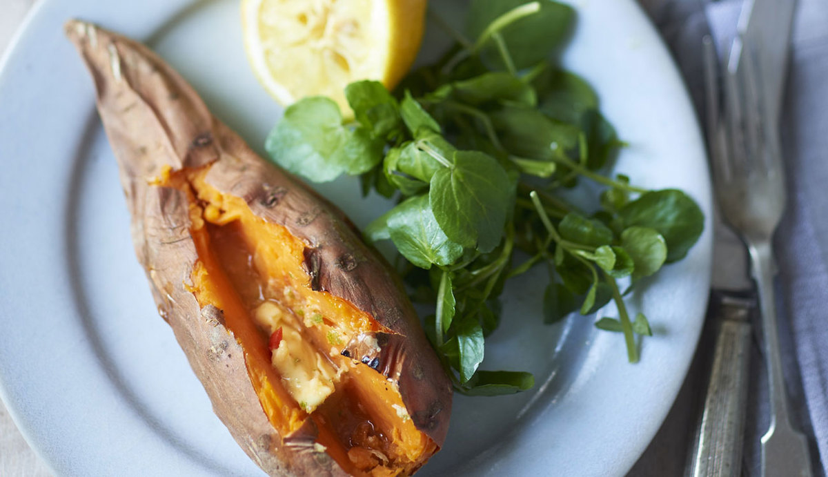 Sweet Potato Jackets with Zingy Butter on a plate