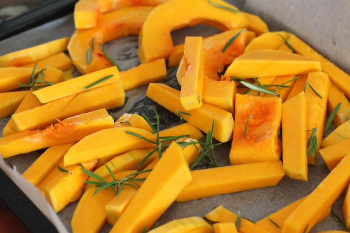 Butternut squash fingers on a roasting tray