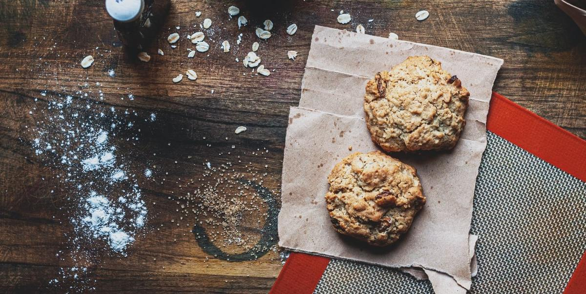Oat cookies on a wooden baking table