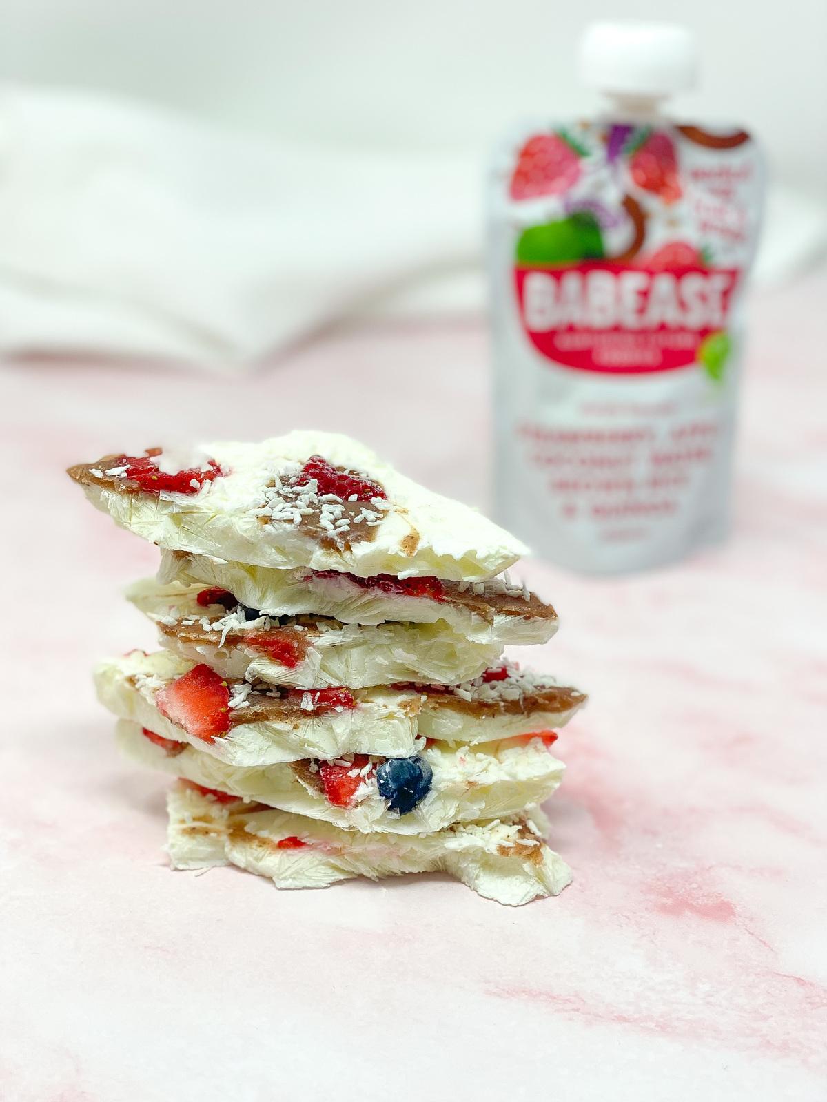 a stack of babease frozen yoghurt bark