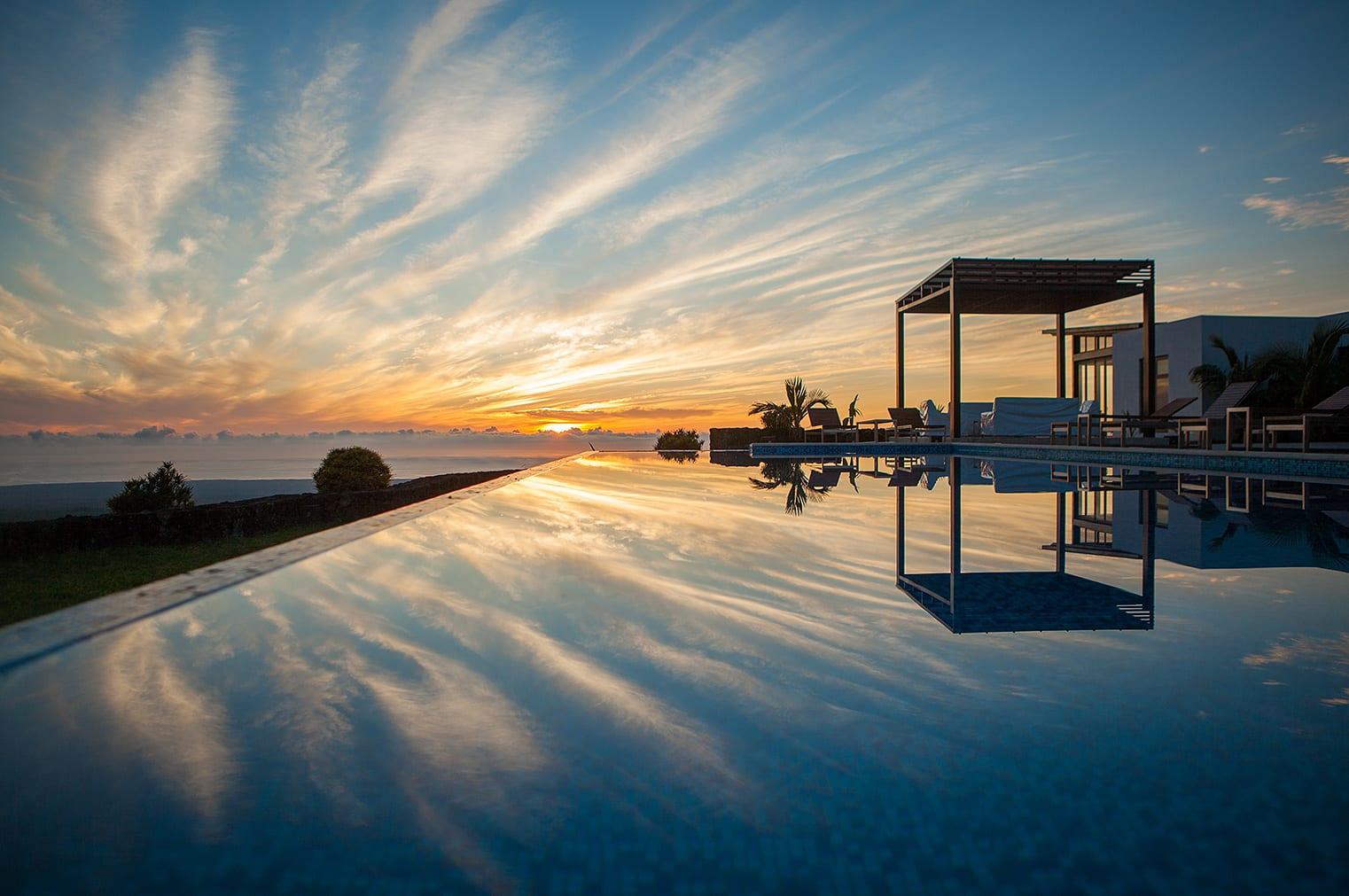 galapagos, pool, sunset, resort