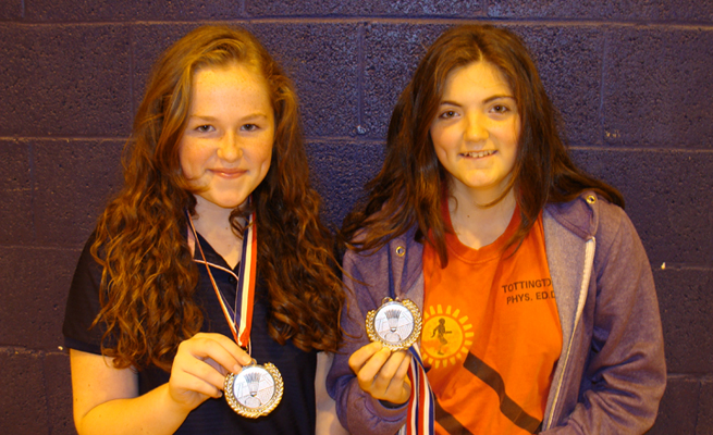 Jasmin and Lauren - Girls Doubles Runners Up at the Hawks Badminton Tournament 2013