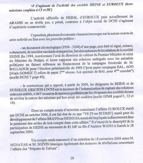Le procureur détaille l'affaire dans laquelle apparaît le nom de Sarkozy. Le nom de code «Bravo» est celui de l'affaire des frégates vendues à Taiwan par DCN et Thales (alors présidée par Alain Gomez), une opération dans laquelle l'intermédiaire Andrew Wang a joué un rôle clé. - JPG - 132.8ko