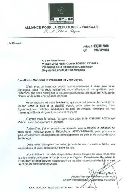 Le 3 janvier, Macky Sall, ex Premier ministre du Sénégal, demande de l'aide à Omar Bongo - JPG - 29.2ko