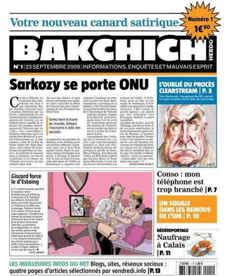 Bakchich Hebdo 1, la une - JPG - 82ko