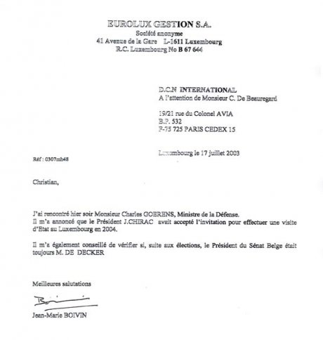 On a document with a header of Eurolux Gestion, the former executive of the DCNI tells his missions to a minister of Luxembourg.  - JPG - 22.9 ko