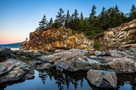 Hiker on Acadia's Coast by J.K. Putnam