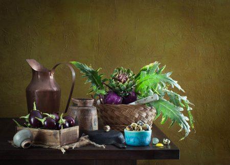 Quail Eggs & Artichokes by Yelena Strokin
