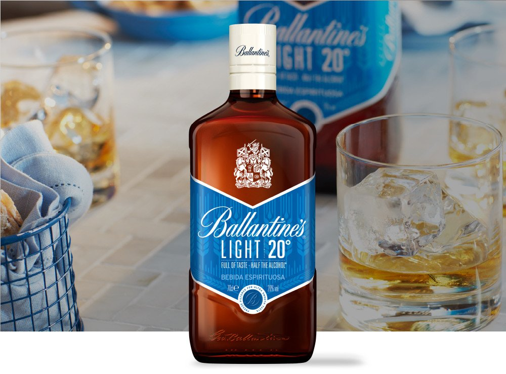 Ballantine's Light bottle and served on the rocks