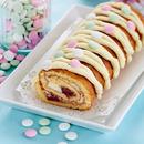 Maasika ja valge šokolaadi rullbiskviit
