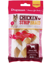 Dogman Chicken Strip Braid S närimispulgad kanaga, 3 tk