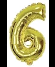 Number 6 kujuline fooliumõhupall Decorata Party, kuldne