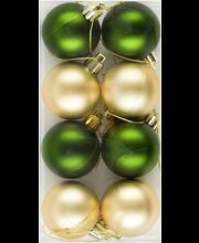 jõulukuul 4 cm 8tk, kuldne/roheline matt