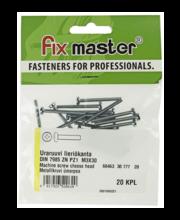 Fixmaster metallikruvi, ümarpea, DIN7985, ZN PZ1, M3 x 30 mm,...