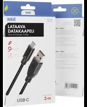 Wave'i laadimiseks sobiv andmesidekaabel Type-C – USB 2.0, 3 m, must