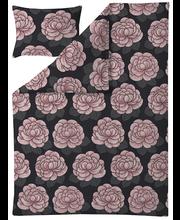 Voodipesukomplekt Sylvi 150x210 cm, must/roosa satään