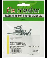 Fixmaster metallikruvi, peitpea, DIN965, ZN PZ1, M3 x 20 mm, ...
