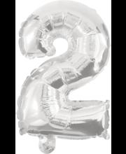 Number 2 kujuline fooliumõhupall Decorata Party, hõbedane