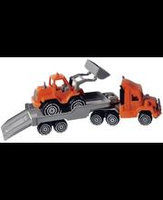 Plasto treilerveok ja laaduriga traktor