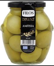 Filos Deluxe rohelised Amfissa oliivid kividega 400/220 g