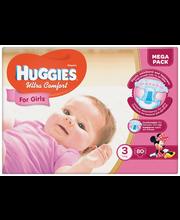 Huggies teipmähkmed Ultra Comfort 3 Mega Pack, tüdrukule, 5-9...