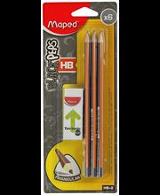 Harilik pliiats 6 tk+ kustukumm