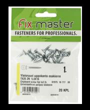 Fixmaster universaalkruvi, peitpea, TX25 ZN, 5,0 x 16 mm, 20 tk