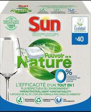 Sun nõudepesumasina tabletid All in 1 Nature 0% 40 tk